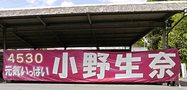「4530 元気いっぱい 小野生奈」競艇小野生奈選手応援用横断幕